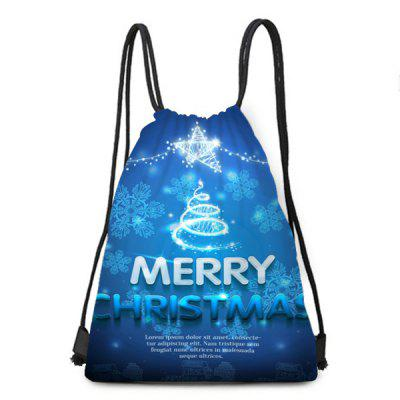 Christmas Snowflake and Letters Print Drawstring Backpack
