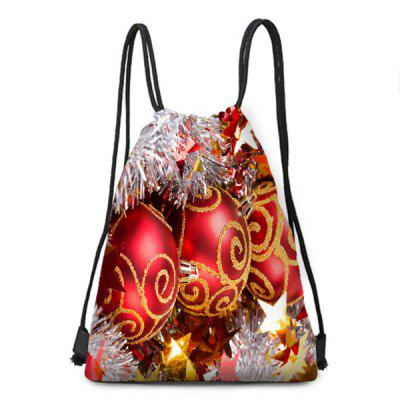 Balls Ornaments Print Christmas Drawstring Backpack