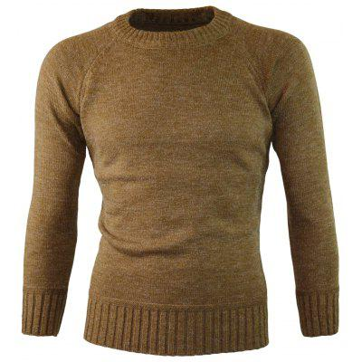 Knitted Ribbed Edge Crew Neck Sweater