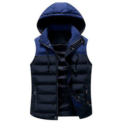Warm Two Tone Hooded Puffer Vest