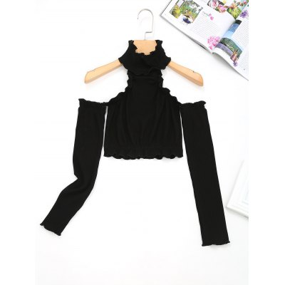Cold Shoulder Piped Cropped Top