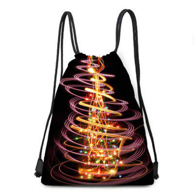 Drawstring Backpack with Gorgeous Christmas Tree Print