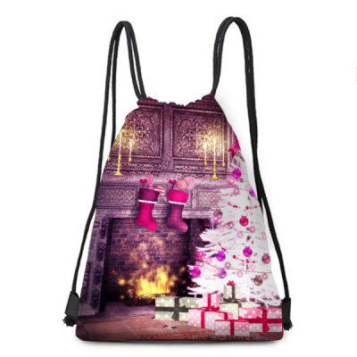 Christmas Tree and Fireplace Print Drawstring Backpack