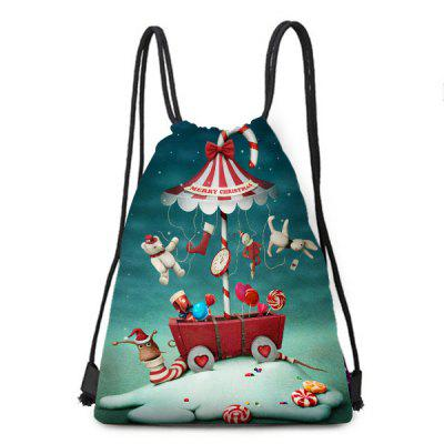Christmas Candy World Print Drawstring Backpack