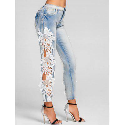 Lace Insert Hollow Out Skinny Jeans