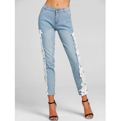Lace Crochet Light Wash Skinny JeansJeans<br>Lace Crochet Light Wash Skinny Jeans<br><br>Fit Type: Skinny<br>Length: Normal<br>Material: Polyester<br>Package Contents: 1 x Jeans<br>Wash: Light<br>Weight: 0.4500kg
