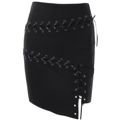 Lace Up Asymmetric Skirt