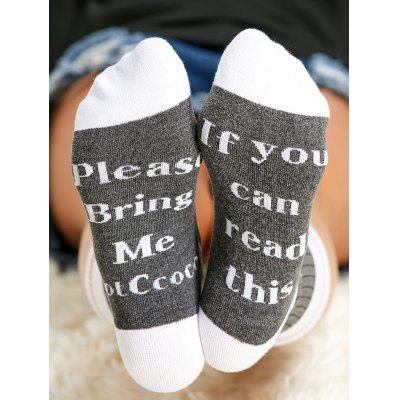 Pair of Contrast Letter Graphic Socks