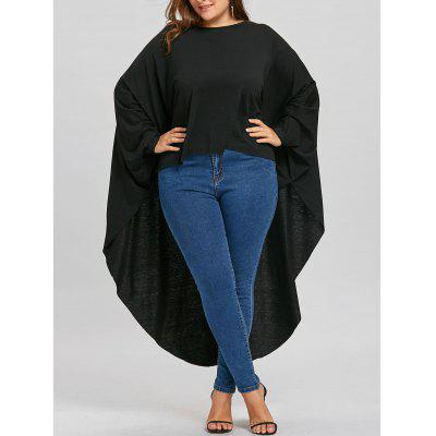Plus Size Batwing Sleeve Long High Low T-shirt