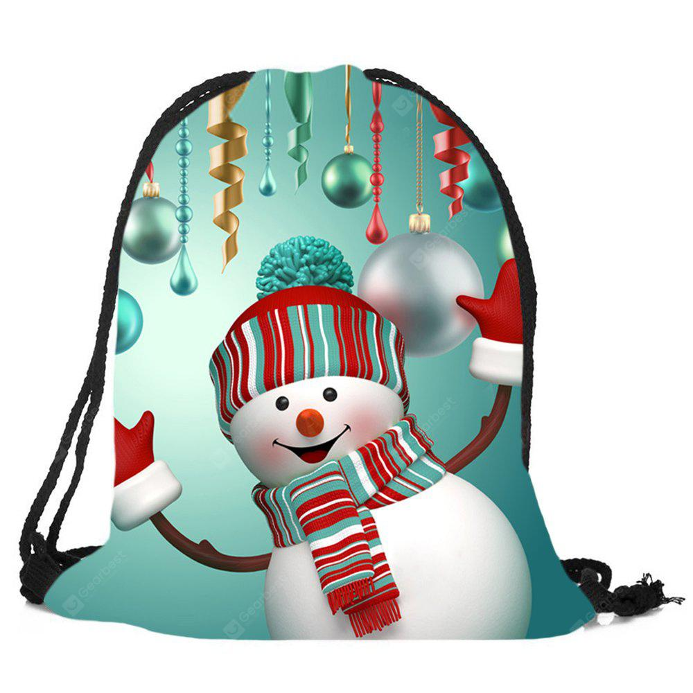 Christmas Snowman Printed Drawstring Candy Storage Backpack