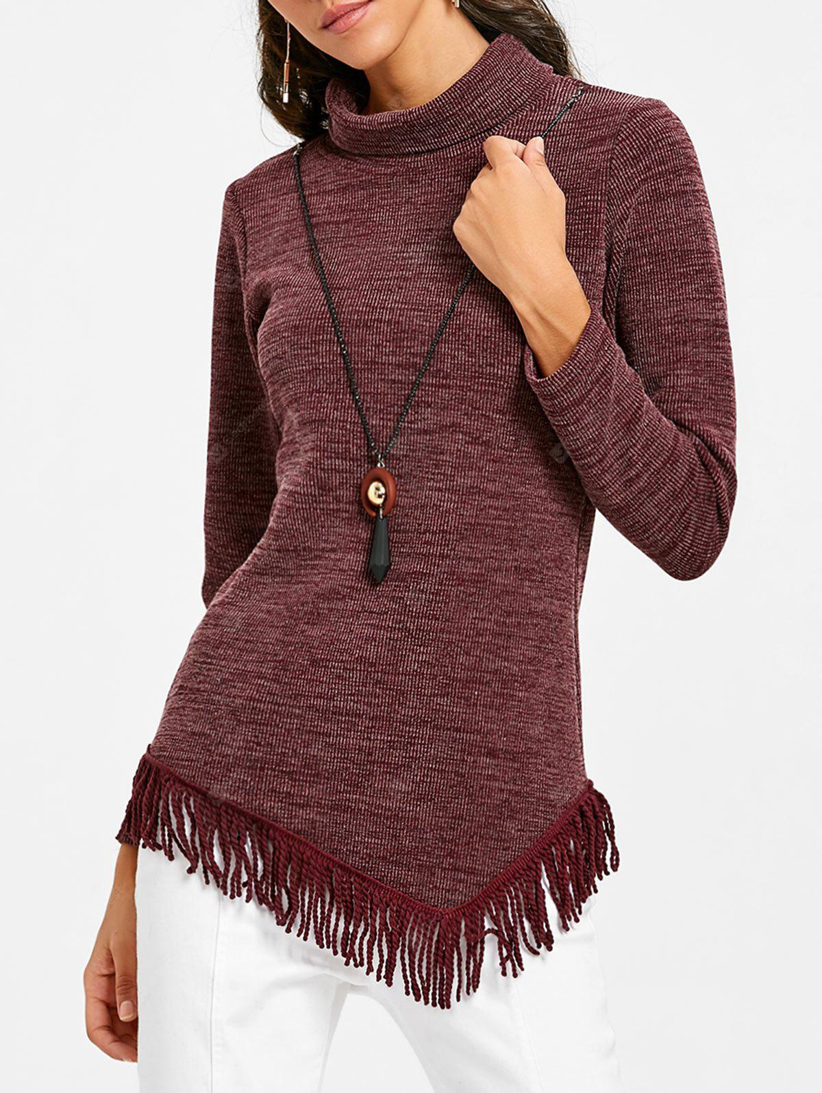 High Neck Asymmetrical Fringed Tunic Sweater