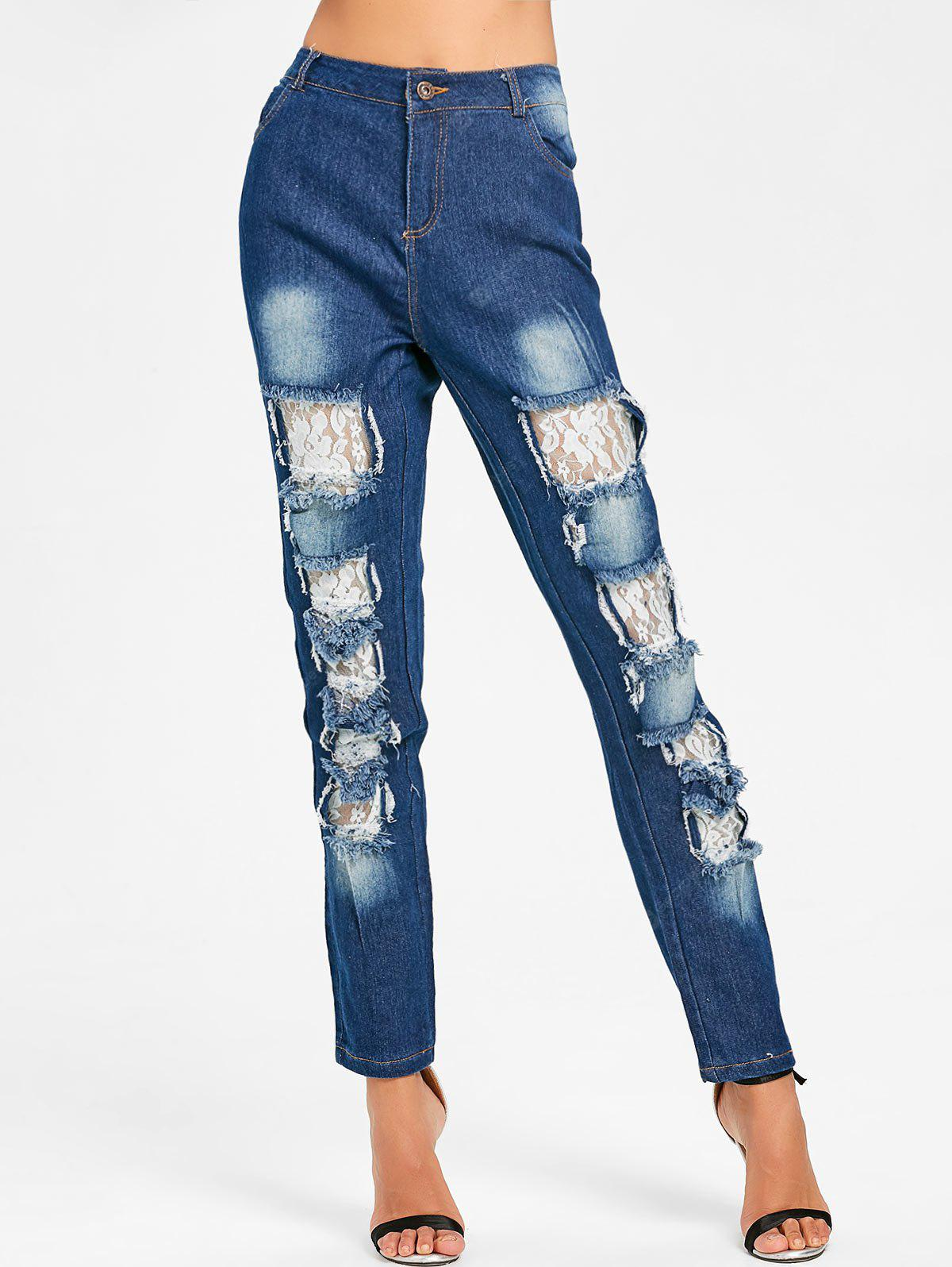 Lace Insert Distressed Skinny Jeans