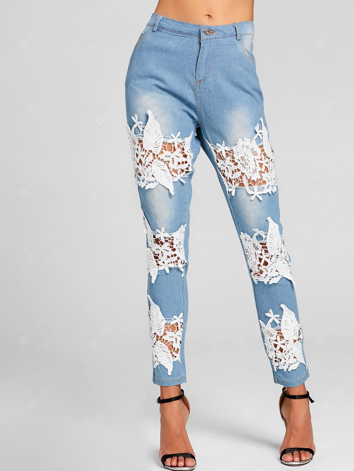 Lace Insert Hole Destroyed Skinny Jeans