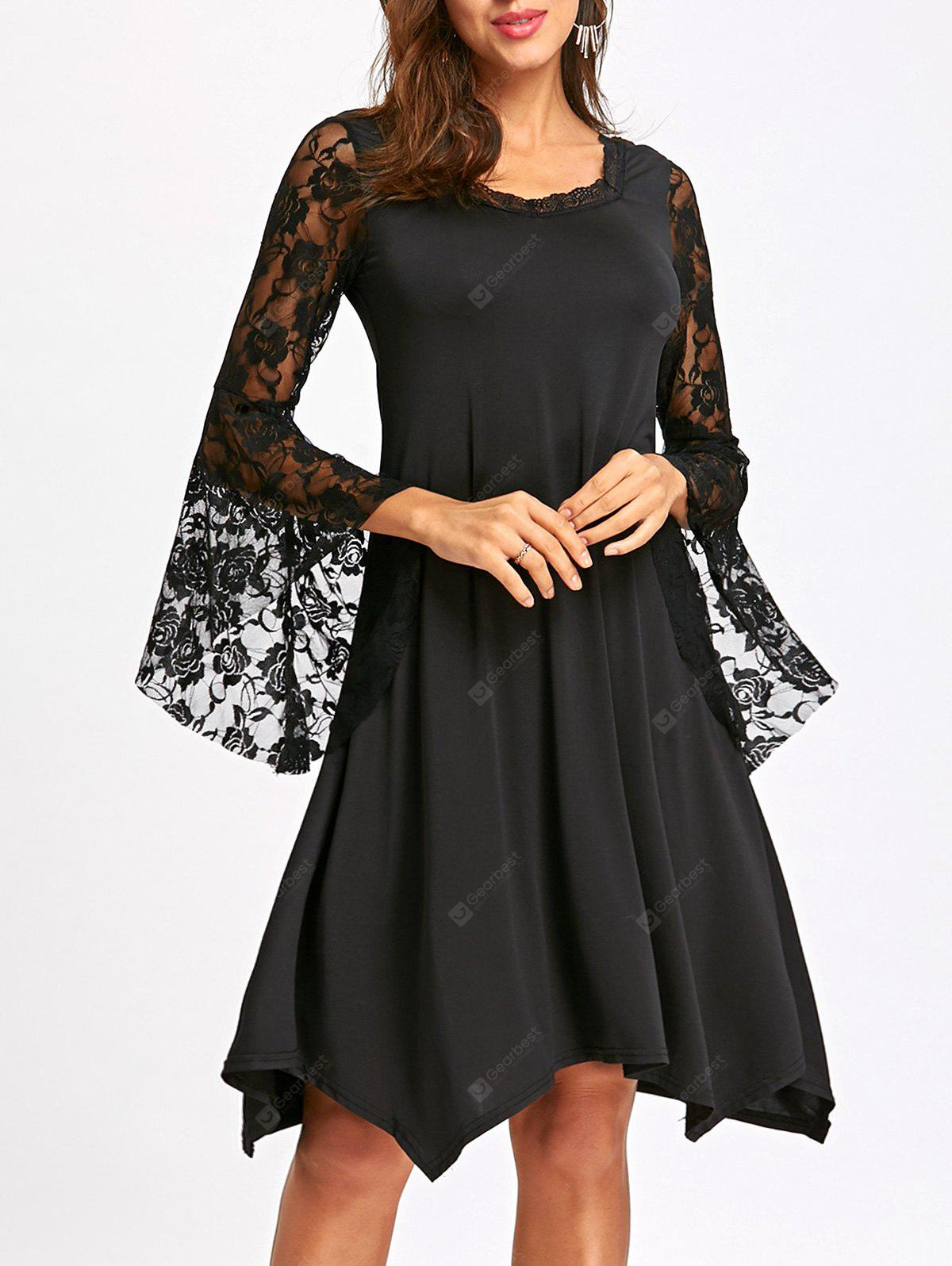 Lace Flare Sleeve Handkerchief Dress