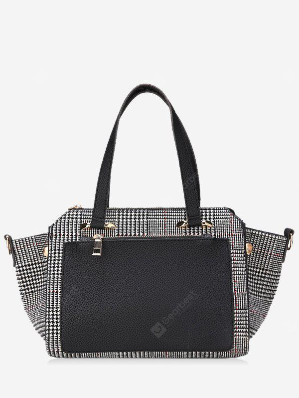 Color Block Plaid Handbag With Strap
