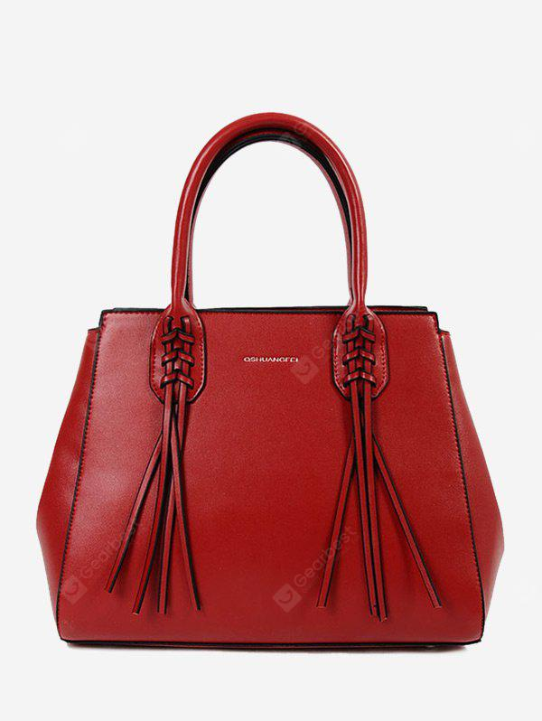 Braid Tassel PU Leather Handbag With Strap