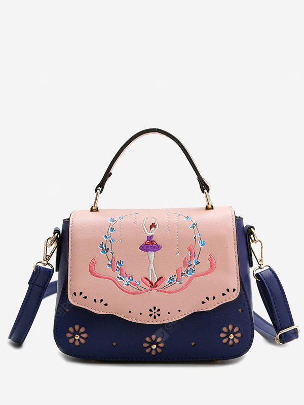Laser Cut Out Embroidery Print Handbag