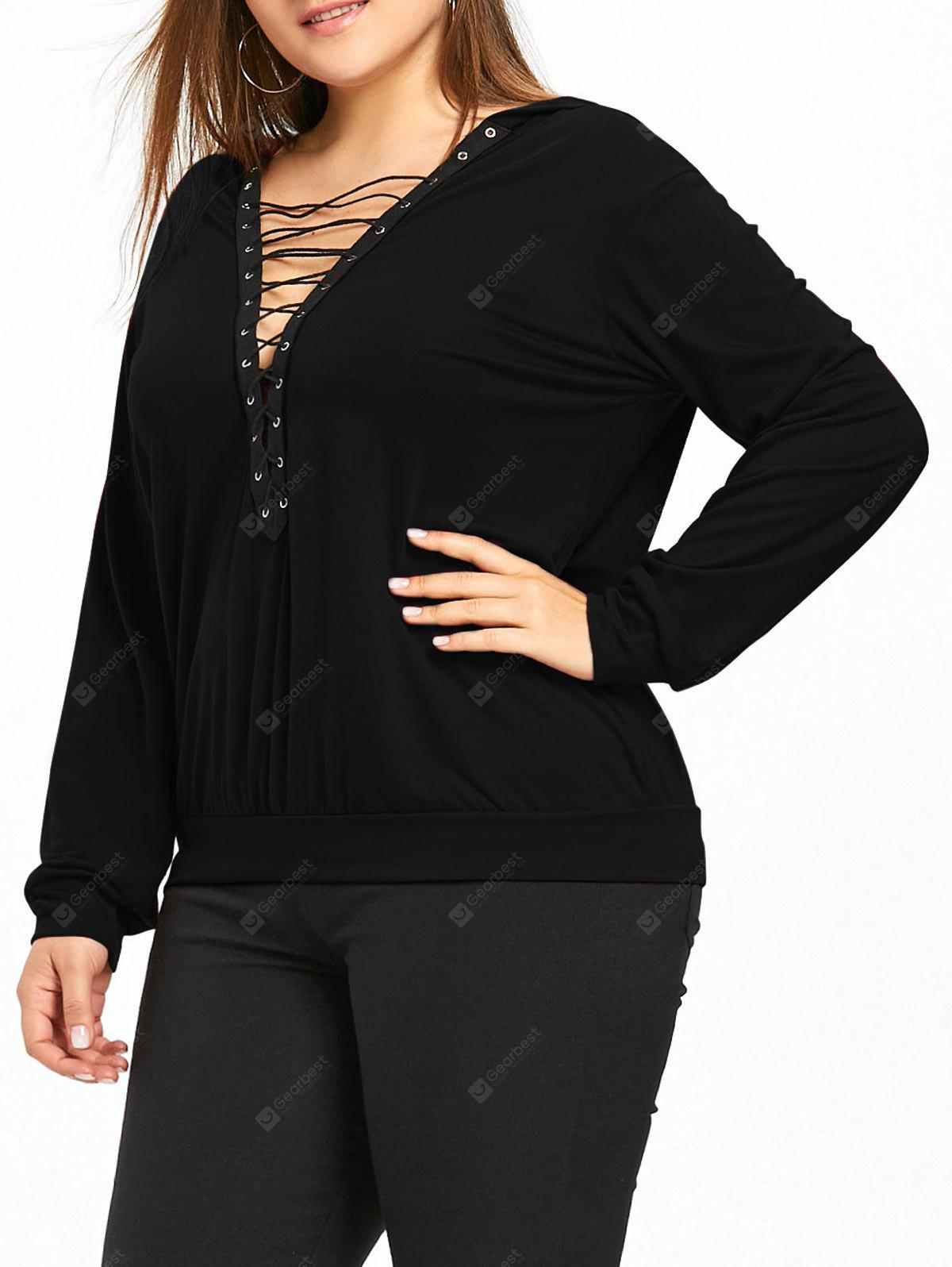 Plus Size Plunge Lace Up Hoodie