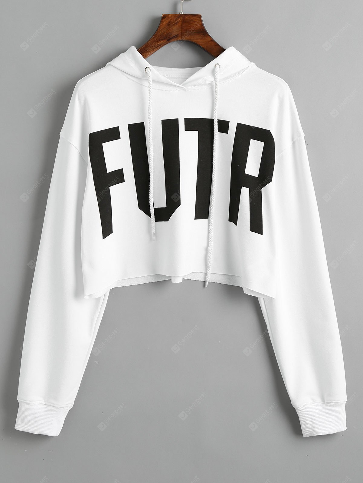 Letter Sporty Cropped Hoodie