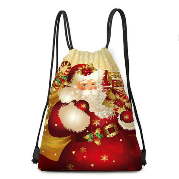 Santa Gift Pattern Candy Bag Christmas Drawstring Backpack