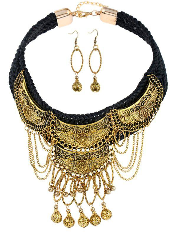 Vintage Braid Fringed Ball Necklace and Earrings