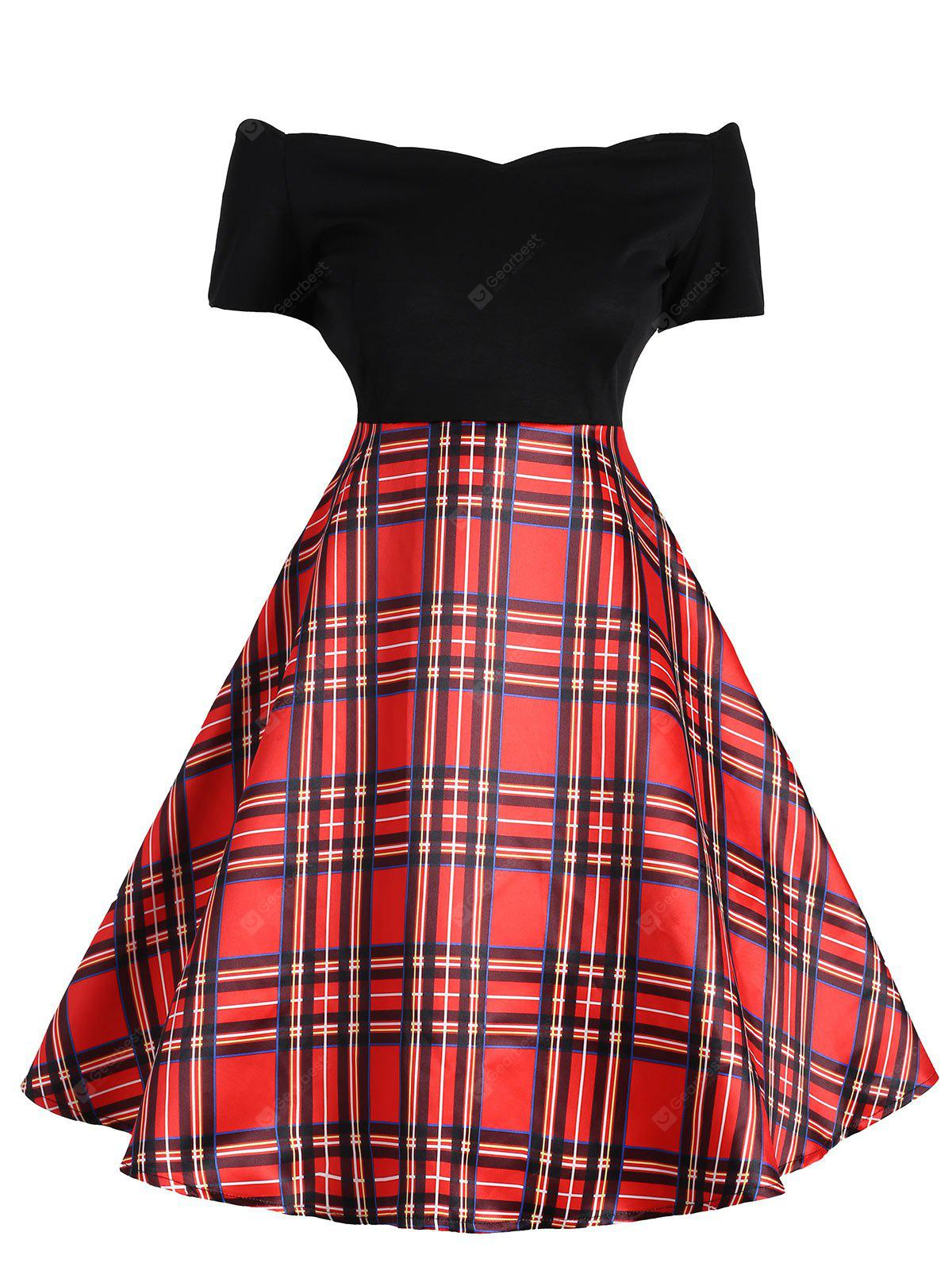 Vintage Plaid Off The Shoulder Dress