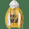 Streetwear Fleeced Graphic Hoodie - YELLOW