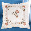 Embroidered Polyester Decorative Throw Pillowcase - BEIGE