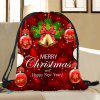 Christmas Ornaments Pattern Candy Bag Drawstring Storage Backpack - DEEP RED