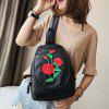 Floral Embroidery Backpack - BLACK