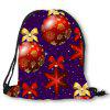 Christmas Baubles Pattern Drawstring Candy Storage Bag - RED AND BLUE