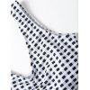 Striped Plaid One Piece Swimsuit - WHITE AND BLACK