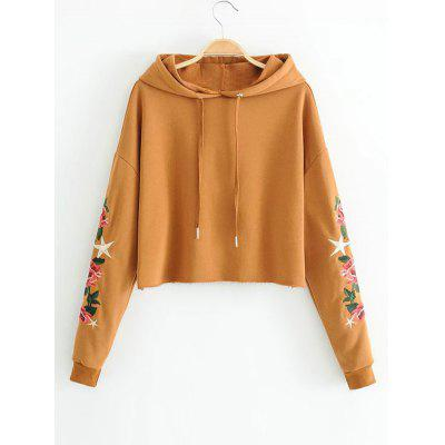 Floral Embroidered Drawstring Cropped Hoodie