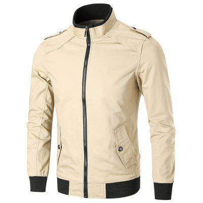Epaulet Full Zip Stand Collar Trucker Jacket