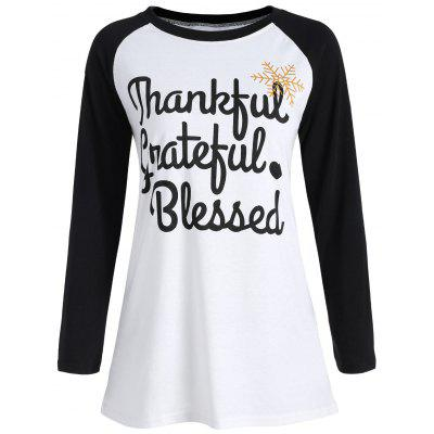 Thanksgiving Raglan Sleeve Letter Print T-shirt