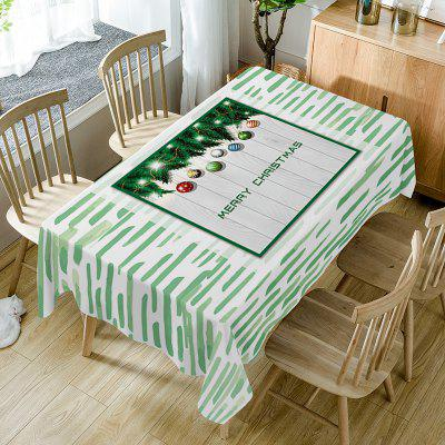 Merry Christmas Baubles Print Waterproof Fabric Table Cloth