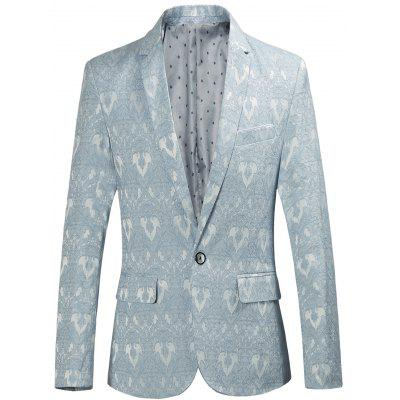 Lapel One Button Edging Jacquard Blazer