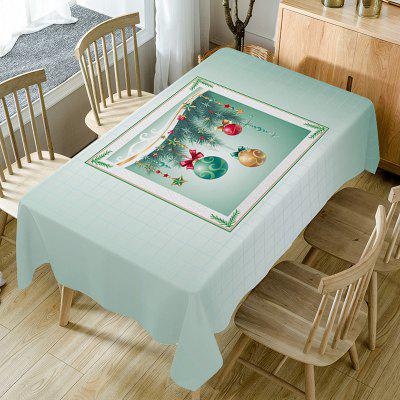 Christmas Baubles Print Waterproof Fabric Table Cloth
