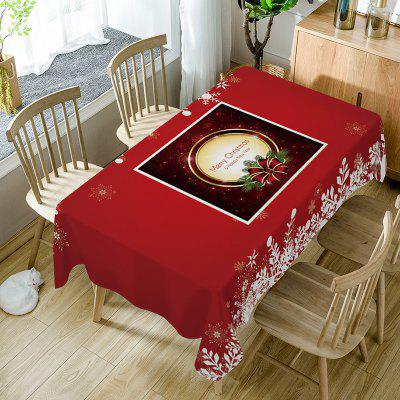Merry Christmas Bowknot Print Waterproof Fabric Table Cloth