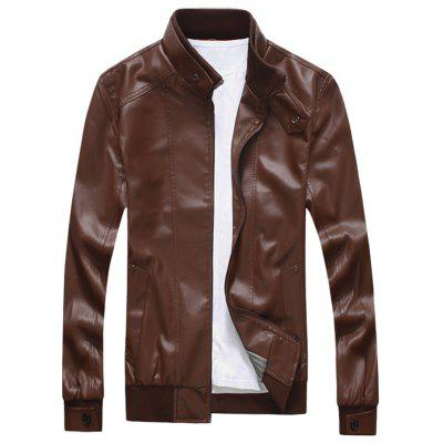 Zip Up Stand Collar Leatherette Jacket