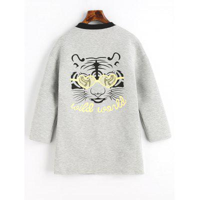 Snap Button Tiger Face Graphic Back Coat