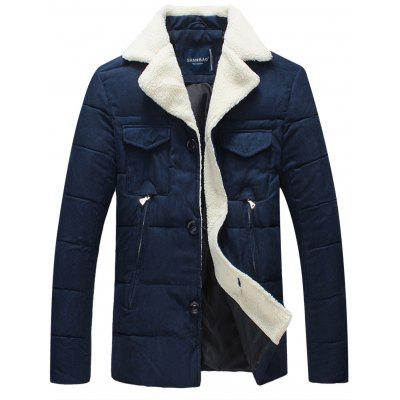 Faux Fur Collar Button Up Pockets Padded Jacket