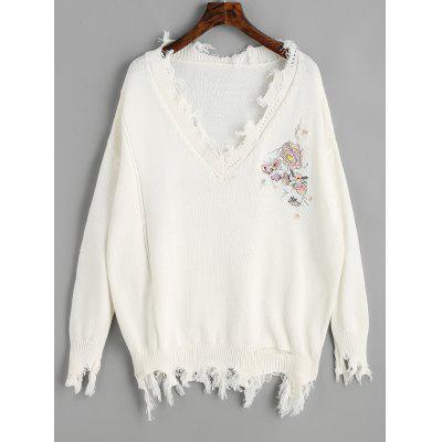 V Neck Flower Patched Ripped Sweater