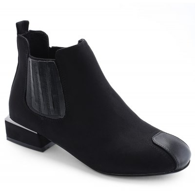 Stacked Heel Faux Suede Ankle Boots
