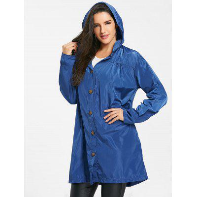 Hooded Single Breasted Coat with Slip Pocket