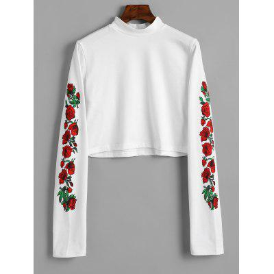 Floral Print High Neck Cropped Tee