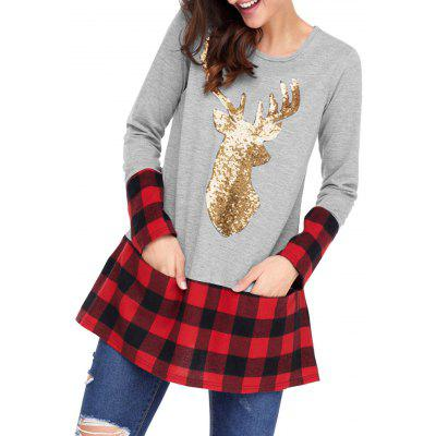 Christmas Sequin Deer Patterned Tunic Plaid Blouse