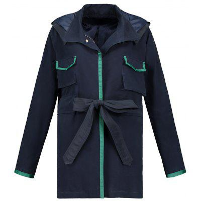 Hooded Contrasting Snap Button Coat