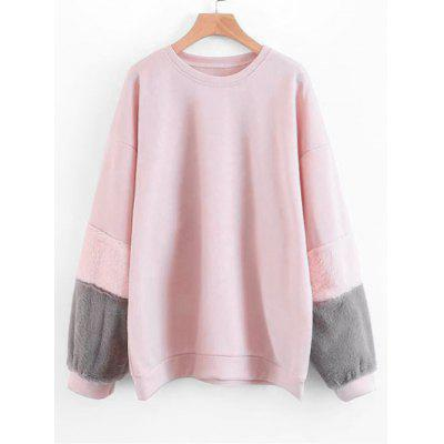 Contrasting Textured Sleeve Loose Sweatshirt