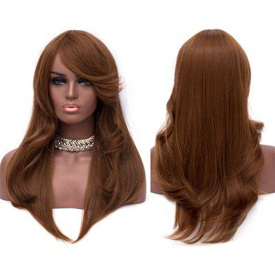 Long Side Bang Layered Slightly Curly Capless Synthetic Wig